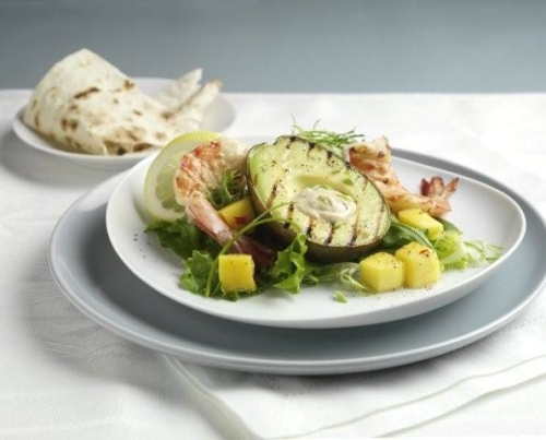 grilled avocado jumbo prawn